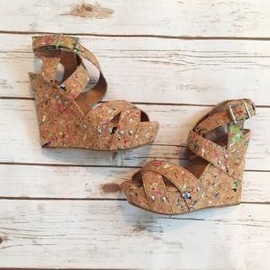 Gianni Bini Tan Wedge Sandal with Colored Specks